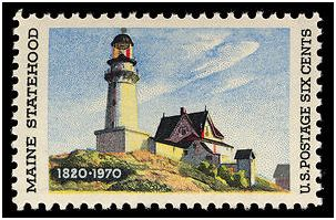 "Edward Hopper's "" The Lighthouse at Two Lights"" painting used on 1970 commemorative stamp. This image used without permission of the USPS."